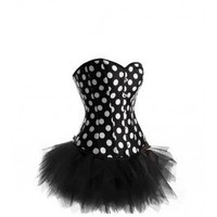 A3043+S013 - Black and White Corset with Tutu - Corset Outfits - Fashion