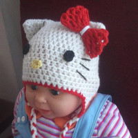 Hello Kitty Hat Crochet Pattern All sizes by CrochetPatterns1