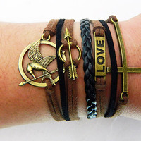 Ancient Bronze Hunger Games Mocking Bird, arrow ,LOVE  and cross bracelet--brown wax rope and black braided leather bracelet