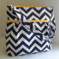 Large Diaper Bag  Made of Navy Blue and White Chevron and Yellow - Adjustable Strap and Elastic Pockets