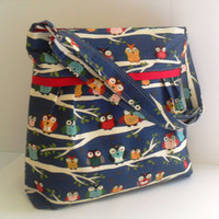 Large  Bag  Made of  Little Owls Fabric - Adjustable Strap / Ready to Ship