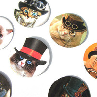 Steampunk Cats Stickers or Envelope Seals Set of 30 Tophats Monocles Mistacjes