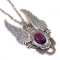 Amethyst and Silver Wings Gothic  Necklace by LeBoudoirNoir