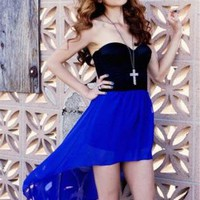 Cobalt Blue High-Low Skirt