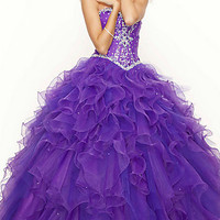 Long Ruffled Strapless Beaded Ball Gown