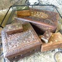 Collection of 6 Wooden Boxes by MozTreasures on Etsy