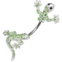 Lt Green Peridot Cubic Zirconia Lizard Gecko 2 piece split Look like Lizzy goes through Belly button navel Ring piercing bar body jewelry 14g 14 gauge: Jewelry: Amazon.com