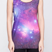 Galaxy Shirt Pink & Blue Planet Cosmic Tank Top Women Shirts Black Shirt Tunic Top Vest Sleeveless Women T-Shirt Size S M