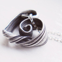 Mitsuro Heart Necklace Cast Recycled Silver by PuaaNui on Etsy