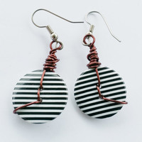 Button Boomers:  button earrings, black & white stripes, brown copper wire