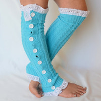 Leg warmers-turquoise cable knit slouchy open button down over the knee socks boot socks valentines day gifts