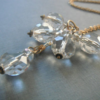 Crystal Glass Beads on Gold Chain by MaesDesigns on Etsy