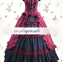 Black And Red Sleeveless Ruffled Bandage Cotton Classic Lolita Dress [T110155] - $73.00 : Cosplay, Cosplay Costumes, Lolita Dress, Sweet Lolita