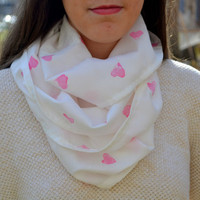 White and Pink Hand Printed Heart Infinity Scarf