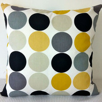 Retro dots in yellow mustard greys black and white by miaandstitch