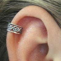 Pierced - Floral Lace Cartilage Ear Cuff - Sterling Silver