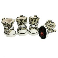 Como 4 Pcs Antislip Sole Leopard Shoes Puppy Pet Dog Booties Boots Sz 1