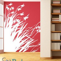 Vinyl Wall Decal Sticker Large Diagonal Flowers AC188B 9ft Tall