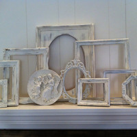 Empty Gallery Frames White Shabby Chic Vintage Frame Set Mother Goose Open Frames Gallery Wall Frames