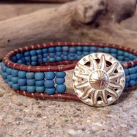 SALE 20% OFF, Wildflower Beaded Leather Wrap Bracelet, Southwestern Chic, Friendship Bracelet