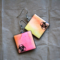 Biohazard sign earrings  Watercolor jewelry Cybergoth by CitrusCat