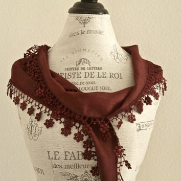 Rustic BrownLace ScarfOrganic Cotton Eco by SistersLace on Etsy