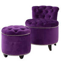 The Marilyn Studded Chair & Footstool - Sweetpea & Willow London