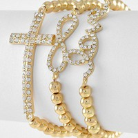 Gold Tone Bead Rhineston...