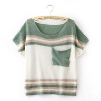 Green Stripe Pocket Short Sleeve Loose Sweater from Showmall