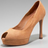 Yves Saint Laurent Peep-Toe Suede Pump