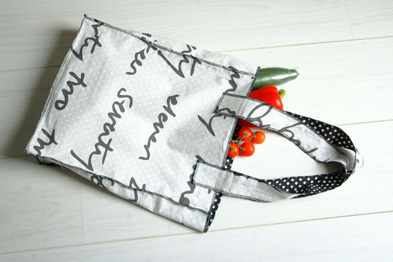 Shopping bag black and white by GaliaQuilt on Etsy