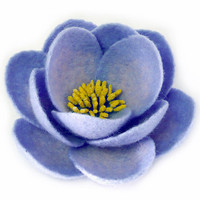 Felt brooch pale blue flower  ready to ship  gift by Roltinica