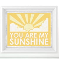 8x10 You Are My Sunshine Print  Nursery Art by flyinggiraffestudio