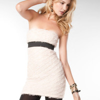 Cream Feathered Strapless Mini Dress  Sexy Dresses