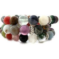 Beaded Bracelet Trio Multicolored Stretch by LeafAndTendril on Etsy