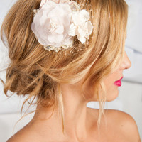 Blush flower fascinator - Beulah | birdcage veils, accessories by tessa kim