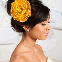 Mustard yellow flower fascinator/brooch | birdcage veils, accessories by tessa kim