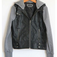Leather Knit Sleeve Hooded Jacket