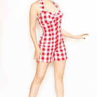 Rockabilly Girl by Bernie Dexter**Red Gingham Halter Bell Romper-XS-XL - Unique Vintage - Cocktail, Evening  Pinup Dresses