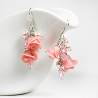 Pink cluster earrings with Pearl rose glass pearls by nesluxury