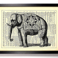 Indian Elephant With Silk Rug Repurposed Book Upcycled Dictionary Art Vintage Book Print Recycled Vintage Dictionary Page Buy 2 Get 1 FREE