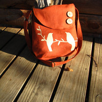 Tweeting Birds Shoulder bag/ Large - Kenya  -purse -Diaper Bag / Natural Linen- handmade /tote /school bag /other colors available
