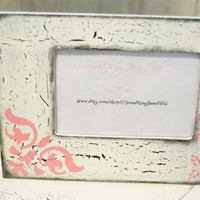 Distressed 4X6 Picture Frame, Crackle, Black, White, Light Pink
