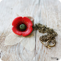 Red necklace pendant Poppy flower gift under 25 by Dariami