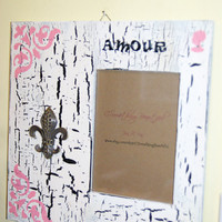 Distressed 5X7 Paris Theme Amour Picture Frame, Crackle Finish, Black, white, and Light pink