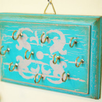 Jewelry Display, Accessories Holder, Necklace, Earring, Bracelet Display, Disstressed, Teal and Tan