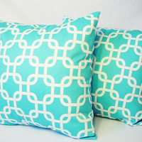 Two Decorative Throw Pillow Covers in Teal Blue and White -  18 x 18 inches Teal Couch Pillow Cushion Cover Accent Pillow