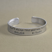 Latitude longitude aluminum bracelet to find your way home