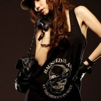 Crazy Shopping Black Skull Cotton T-shirts : Wholesaleclothing4u.com