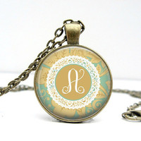 Doily Initial Necklace Glass Dome Art Pendant Picture Pendant Photo Pendant Handcrafted Jewelry by Lizabettas
